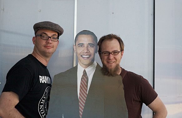 Luke Dorny, Brian Warren and Mr. President outside the Obama Store in Austin