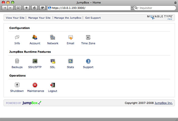 Virtual Machine Configuration Home Screen